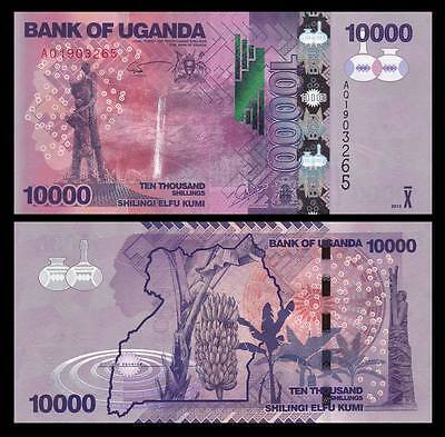 Africa - Uganda 10000 (10,000) Shillings Paper Money,2015,P-New,Uncirculated