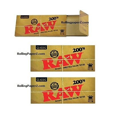 3X PKS RAW Classic King Size Slim FLAT PACK - 200 COUNT Uncreased Rolling papers