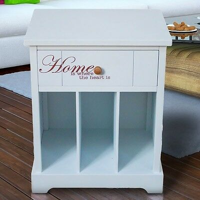 Drawer Table Retro Chest of White Newspaper Plates Compartments Cupboard Shelf