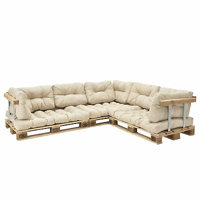 "[en.casa] ""Euro Pallets Sofa"" Edition 11x Seat Backrest pad Beige Pillow Cream"