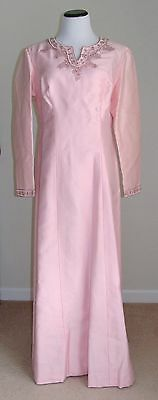 Vintage 1960s Pink Silk Blend Long Beaded Rhinestone Evening Gown