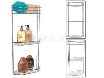 3 Tier Chrome Corner Shower Caddy Bathroom Storage Rack Shelf Organiser Basket