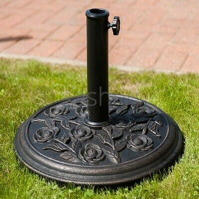 Cast Iron Effect Parasol Base Heavy Duty Metal Garden Banana Bronze Patio Stand