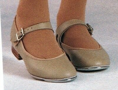 New/Box Tan Tap Shoes Girls/ ladies sizes UShells #3503 LeatherSole Tapsattachd