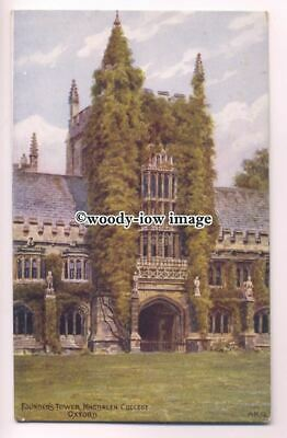 ar0499 - Founders Tower, Magdalen College - Artist - A.R.Quinton - Postcard