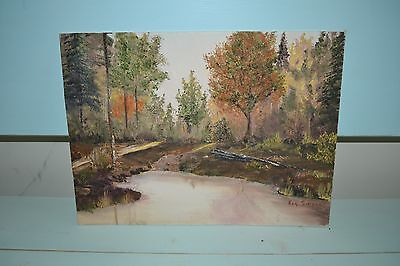 VTG 1980's Signed Original Oil On Canvas Painting Pond Outdoor Fall/Autumn
