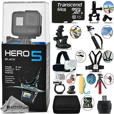 GoPro Hero 5 Black 4K30 Ultra HD, 12MP, Wi-Fi Waterproof Action Camera -64GB Kit