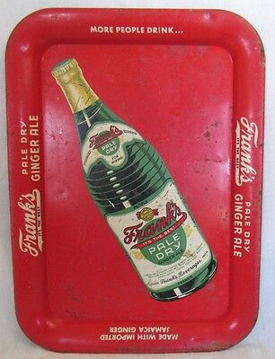 1940s-1950s Vintage FRANK'S Pale Dry Ginger Ale, Metal Serving Tray