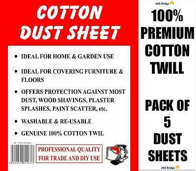 5 X EXTRA HEAVY DUTY COTTON TWILL DUST SHEETS - 180 GSM **Tight Construction**