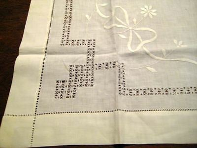 """30"""" SQUARE Tablecloth Hand Done Needlework Drawn Work Inserts Embroidery Bows"""