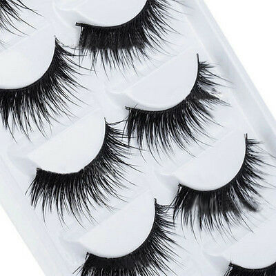 Natural Makeup 5 Pairs Long Thick False Eyelashes Handmade Eye Lashes Extension