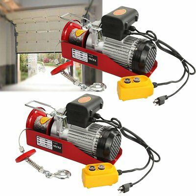 2pcs 1500LBS Mini Industrial Electric Wire Cable Hoist Winch Crane Lift Overhead