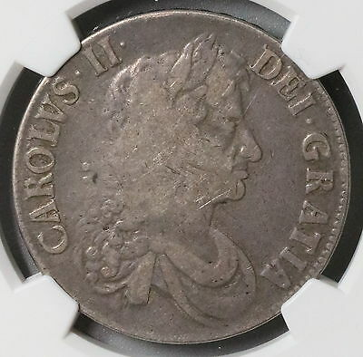 1672 NGC F 15 CHARLES II Silver Crown GREAT BRITAIN Coin (16081502D)
