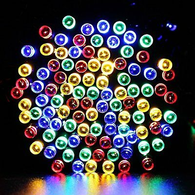 50 Led Multi Coloured String Solar Powered Fairy Lights Garden Party Xmas RGB