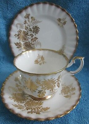 ROYAL ALBERT bone china GOLDEN GLORY tea TRIO cup, saucer, plate chrysanthemum