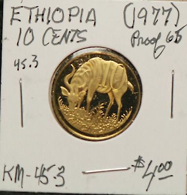 Ethiopia 1977 10 Cents, Proof, KM45.3                                       8lgm