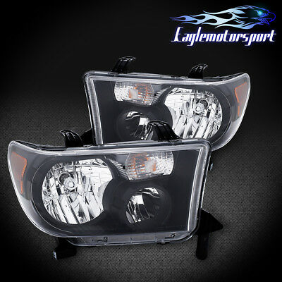 For 2007-2013 Toyota Tundra 2008-2017 Sequoia Factory Black Headlights Pair