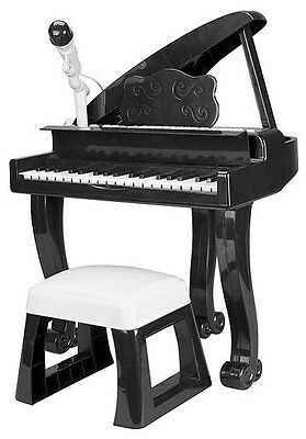 NEW Carousel Grand Piano Toy with Microphone and Stool - Black