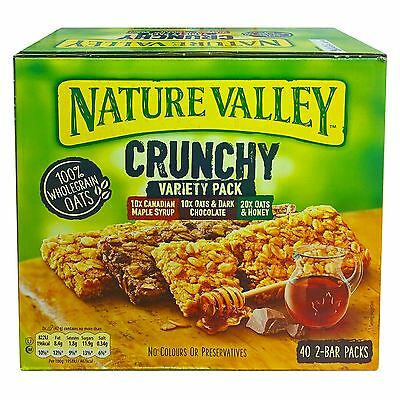 Nature Valley Crunchy Granola Bars 40 x 42g 2-Bar Variety Pack Oats Honey Maple