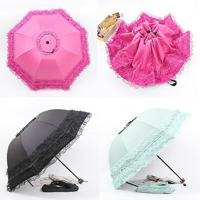 HOT Women Princess Arch lace sun parasol anti uv folding windproof rain umbrella
