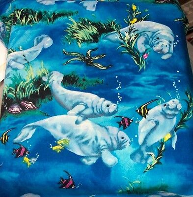 Ocean Manatee  Florida   Sealife  Fabric Scrapbook Scrapbooking Album 12X12