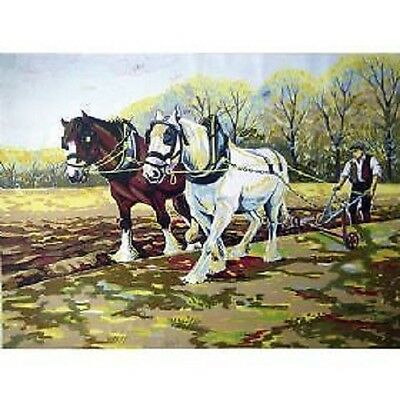 Ploughing The Field Horses Tapestry Canvas Collection D Art 6251