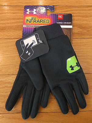 NWT UNDER ARMOUR ColdGear Infrared Liner Boys Running Gloves-Yth M @$30 DK GRAY