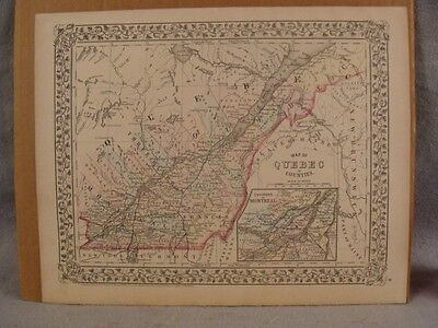 Antique Original 1872 A Mitchell Map of Quebec  in Counties Canada