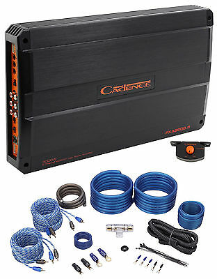 Cadence FXA5000.5 2000 Watt 5 Channel Car Amplifier + 4 AWG Amp Kit