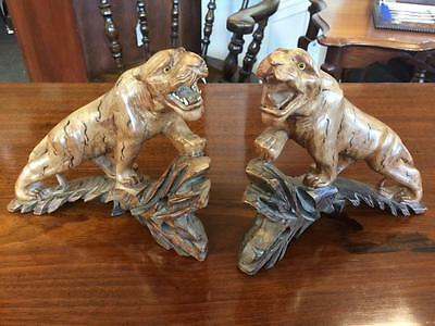 Antique Vintage Pair Of Carved Tiger Figures On Matching Hardwood Stand