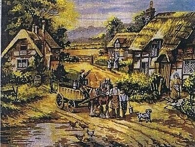 Off To Market English Thatched Village Scene Tapestry Canvas Gobelin