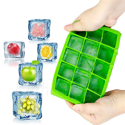 Perfect Silicone IceCube Maker Ice Cube Trays 15 Square Mold Whiskey Party Drink