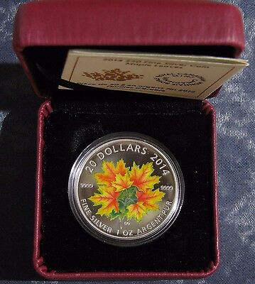 2014 Canadian Mint Colorized Silver Maple Leaf $20 Silver Coin 1 Oz w/ Box & COA