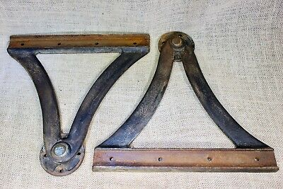 2 old drafting drawing table Pivot brackets counter tilt top support industrial