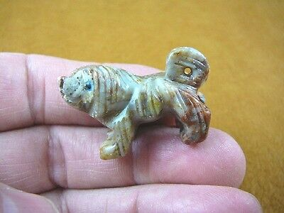 (Y-DOG-LL-3) gray red Lhasa Apso DOG small stone carving SOAPSTONE lap puppy