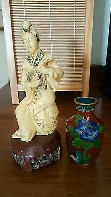 Vintage Japanese Signed Geisha Statue Playing Mandolin And Small Cloisonne Vase