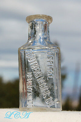 Tiny antique SOUTHERN PACIFIC HOSPITAL DEPT bottle HALF 1/2 OUNCE size ARIZONA