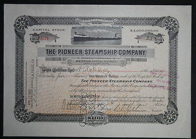 The Pioneer Steamship Company Capital Stock Certificate Lot of Two