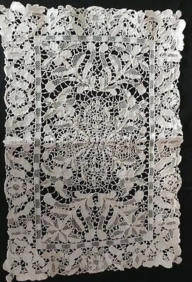 6 Antique Italian Lace Place Mats Mixed Lace Stunning Elaborate Handmade (#98)