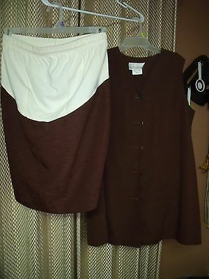 Ladies Motherhood Brand 2 Piece Maternity Outfit Top and Skirt Size Medium
