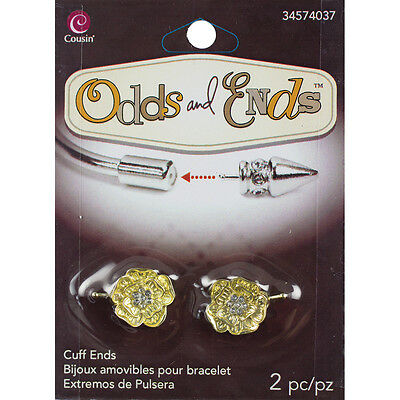 Odds & Ends Cuff Ends 2/Pkg-Gold Flowers