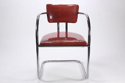 1950s Red Cracked Ice Vinyl & Chrome Chair Iconic Mid Century Kitchen Seat