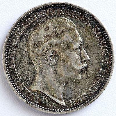 1910 A Germany Prussia 3 Mark Silver Coin Wilhelm II (LV#362)