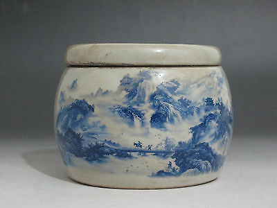 Chinese Blue and white Porcelain Tea caddy pot Cricket jar Figures scenery verse
