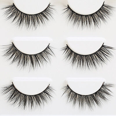 3Pair/set Bushy Cross False 3D Natural Eyelashes Mink Hair Eye Lashes Black