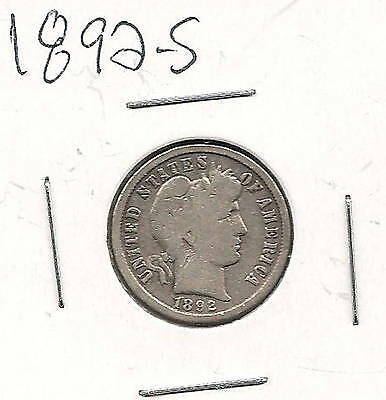 1892-S Barber Dime : Very Good