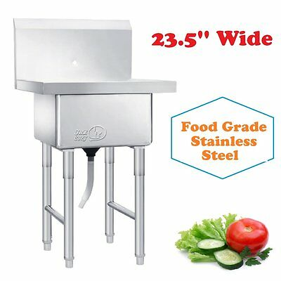 23.5'' Wide - Commercial Kitchen Utility Sink Stainless Steel Basin Single Bowl