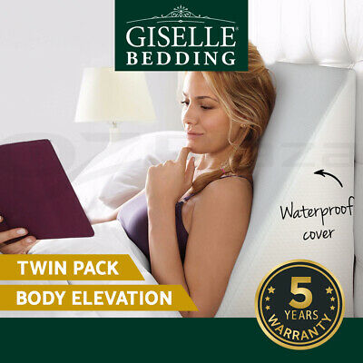 Giselle Bedding 2X Wedge Pillow Memory Foam Back Neck Support Cool Gel Home