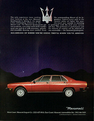 Only experience more exciting than looking Maserati Quattroporte ad 1981