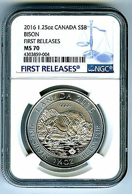 2016 $8 Canada 1.25 Oz Silver Bison Ngc Ms70 First Releases .9999 Fine Pop=22 !